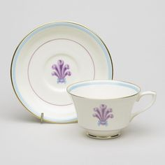 Teacup and saucer Museum Shop, Chocolate Cups, Feather Design, Prince Of Wales, Worcester, Porcelain Ceramics, Bone China, Cup And Saucer, 1940s