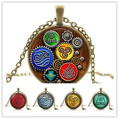 """""""Avatar"""" The Last Airbender- Fire Nation, Water Tribe, Air Nomad, and Earth Kingdom Elements Necklace -FREE SHIPPING !!!"""