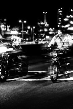Free download of this photo: https://www.pexels.com/photo/2-man-riding-motorcycle-grayscale-photography-112591/ #black-and-white #city #road