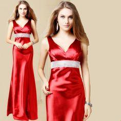 Elegant Long Red Evening Dresses Formal V Neck Crytal Belt Floor Length Evening Gown High Quality Evening Dress New Arrival 2014 $39.36