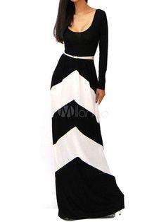 Vestido largo de dos tonos con manga larga
