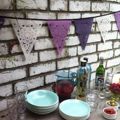 purple, lilac and cream party bunting, purple, lilac and cream wedding garland bunting. $48.00, via Etsy.