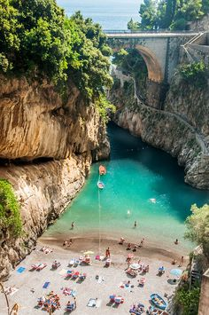 Canyon of Furore, Amalfi Coast, Italy Actually saw this from the bridge in the background. Amalfi Coast is definitely a place you want to spend several days at Places Around The World, Oh The Places You'll Go, Cool Places To Visit, Places To Travel, Around The Worlds, Dream Vacations, Vacation Spots, Vacation Villas, Vacation Rentals