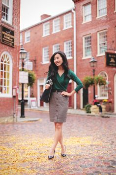 Fall officewear: Ivy wrap top and herringbone skirt | Professional Style @ Levo (via Extra Petite Blog)