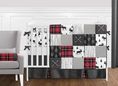 Shop for Sweet Jojo Designs Grey, Black and Red Woodland Plaid and Arrow Rustic Patch Collection Boy Crib Bedding Set. Get free delivery On EVERYTHING* Overstock - Your Online Baby Bedding Shop! Get in rewards with Club O!