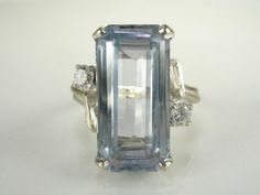 Vintage Aquamarine and Diamond Cocktail Ring by lonestarestates