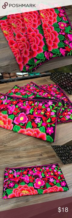 Thai Floral Embroidery Clutch Purses This clutch features beautiful and  traditional Thai embroidery. Lovely large 8f4968d74ae6b