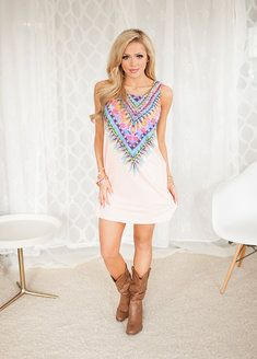 More and More Feathers Dress Blush