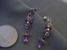 Vintage Purple Rhinestone drop earrings--lovely!