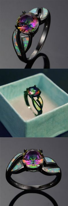 2018 Charming White Fire Opal Ring Colorful Men Women Rainbow Jewelry Black Alloy Filled Engagement Rings