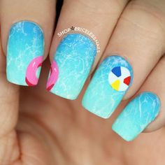 40 Lovely Spring Nail Designs to Sport Style with Elan very cute pool nails Nail Design Spring, Spring Nail Art, Spring Nails, Summer Nails 2015, Crazy Summer Nails, Nail Art Designs, Beach Nail Designs, Nails Design, Summer Nail Designs