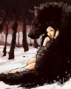 a great illustration.so much emotion expressed by both the girl & wolf.love the predominantly monochromatic scene.very dramatic. Little Red Riding Hood, Animal Art, Drawings, Fantasy Art, Wolf Love, Illustration Art, Art, Wolf Art, Wolf Girl