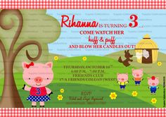 3 Little pig Invite