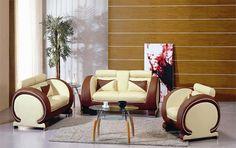 Vig Furniture Divani Casa 7391 Modern Beige and Brown Leather Sofa Set Dark Brown Leather Sofa, Modern Leather Sofa, Leather Sofa Set, Leather Sectional, Living Room Orange, Living Room Sets, Interior Room Decoration, Furniture Sofa Set, Modern Furniture