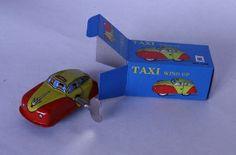 Mini Taxi Wind Up Tin Toy. With box. - Junk Drunk Jones