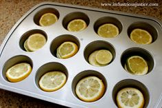 Awesome idea for pitcher of water or lemonade: How: Lemon & Lime Ice Cubes