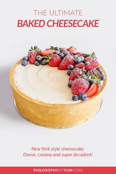 A lush, New York Style Vanilla Baked Cheesecake; buttery vanilla pastry with super creamy, dense (but not too dense), smooth and tangy cheesecake. Deeeeelectable! Eat it as is or add a topping; fresh fruit, salted caramel & nuts or a fruit compote. #newyorkcheesecake #bakedcheesecake #cheesecakerecipe #perfectcheesecake Creamy Cheesecake Recipe, No Bake Vanilla Cheesecake, Cheesecake Recipes, Homemade Cheesecake, New York Style Cheesecake, Classic Cheesecake, Vanilla Cream Cheese Frosting, Compote Recipe, Fruit Compote