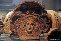 Maenad. Painted terracotta antefix,  Etruscan 400-300. British Museum, London, via TheAncientWorld.