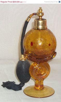 Verkauf begrenzt Vintage Royal Amber Crackle Glas Parfüm Flasche Atomizer