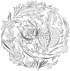 ISLAMIC BORDER: Floral dibujo adorno en una composición circular con flores turcos otomanos estilizadas y granada