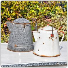 """Enamelware Coffee Kettle Available in Grey 9"""" x 12"""" tall or White 8"""" x 10"""" tall. Please specify color when ordering."""
