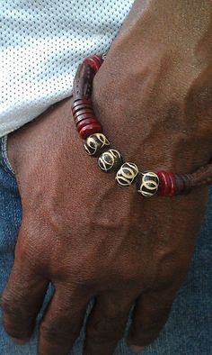 Men's stretchy African bone wood beaded by LilaRoseJewelry on Etsy, $33.00 #mensjewelry #mensfashion #beads #jewelry #style #accessories