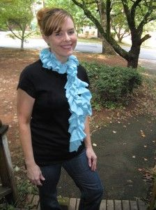 Cute scarf! Made from a t-shirt.