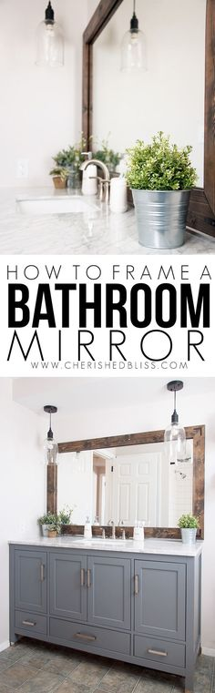 DIY Bathroom Decor Ideas - Wood Framed Bathroom Mirror Tutorial - Cool Do It Yourself Bath Ideas on A Budget, Rustic Bathroom Fixtures, Creative Wall Art, Rugs, Mason Jar Accessories and Easy Projects - Home Decor Styles Farmhouse Bathroom Mirrors, Diy Bathroom Decor, Bathroom Styling, Diy Home Decor, Bathroom Fixtures, Master Bathroom, Bathroom Colors, Bathroom Gray, Vanity Bathroom