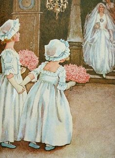 Lovely pastel pinks grace these bridal bouquets as excited little flower girls await the coming of their beautiful bride! Vintage Wedding Photos, Vintage Bridal, Vintage Images, Vintage Art, Vintage Weddings, Wedding Illustration, Illustration Art, Wedding Graphics, Decoupage