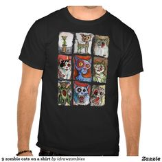 9 zombie cats on a shirt