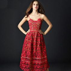 Red Embroidered Lace Maxi Dress