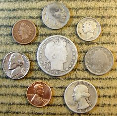 #coins Mix LOT of 8 OLD U.S. Type Coin Collection with some 90% Silver *1043 please retweet
