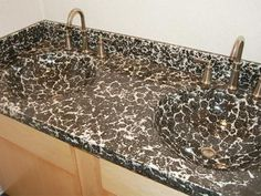 Fun, Wild Black And White Concrete Countertop With Integral Sinks.