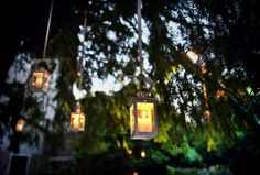 Lamps, candles, garden and trees... Welcome cocktail decorations