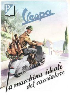 PUBBL.1954 VESPA PIAGGIO LA MOTO DEL CACCIATORE FIRENZE ROBERTO LEMMI in Arte e antiquariato, Stampe | eBay