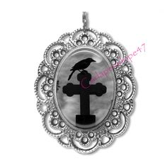 Silver Pendant Necklace Black Raven Crow Moon Mystical Pagan Cross Wicca w/chain
