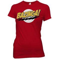 Big Bang Theory Bazinga! Red Juniors T-Shirt