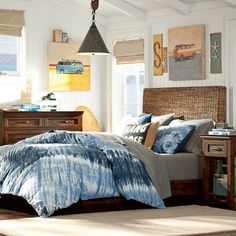 Love this room.  Especially the tie dye duvet cover.  The window shades & art would look good in Conner's room too.