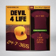 If you're a DieHard Sun Devil, get Your Official T-Shirt while you can!  http://diehard-apparel.com/collections/all