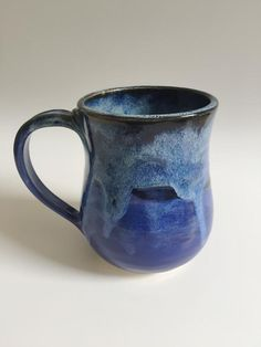 Blue Ombre Mug - 16 oz Wheel Thrown Pottery, Clay Food, Blue Ombre, Safe Food, Ceramics, Mugs, Unique Jewelry, Vintage, Etsy