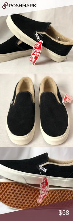 Vans Classic Slip On Suede Fleece Black True White Vans Classic Slip On  Suede 1cf24a73e