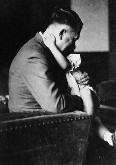 Adolf Hitler with Uschi Schneider, taken from Herta Schneider's photo albums.