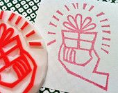 for you hand carved rubber stamp. handmade rubber stamp. gift box in the hand. READY TO SHIP