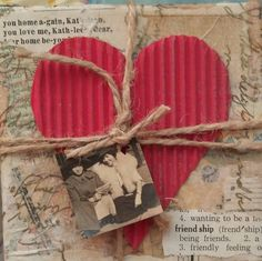 Collage heart art, mixed media collage small art peice, vintage photo, repurposed materials, OOAK art, USA artist, art for gifts, friend art by TheRustyWanderer on Etsy