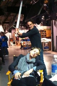 When Kaley sleeps on the Big Bang set.