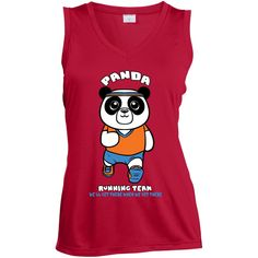 Panda Running Team Ladies Sleeveless Dri Fit V Neck
