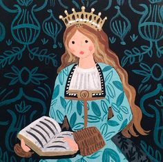 """""""Queen Isabella I of Castille - for our 2015 Monarch Calendar"""" Anna Rifle Bond, Rifle Paper Co People Illustration, Illustration Girl, Watercolor Illustration, Queen Drawing, Anna Bond, Queen Isabella, Wonderland, Rifle Paper Co, Christmas Art"""