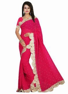 Customary Embroidered Work Magenta Traditional Designer Sarees