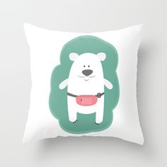 @paisleyprintsonline $20.00 http://society6.com/product/mr-polar-bear-iit_pillow#25=193&18=126