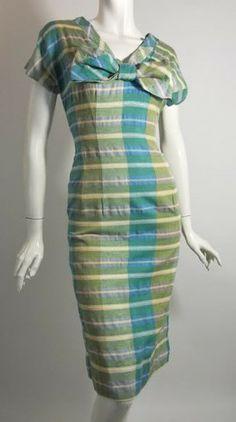 Aqua Blue and Green Plaid Wiggle Dress w/ Bow circa 1950s - Dorothea's Closet Vintage